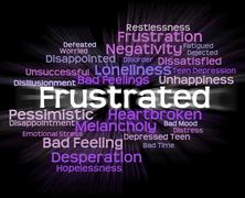 Frustrated Word Represents Exasperated Frustrating And Maddened Stock Illustration