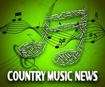 Country Music News Indicates Folk Song And Musical Piirros