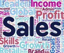 Stock Illustration of Sales Word Shows Text Retail And Words