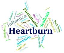 Heartburn Word Indicates Poor Health And Affliction - stock illustration