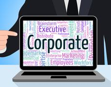 Corporate Word Shows Corporation Businessmen And Wordcloud - stock illustration