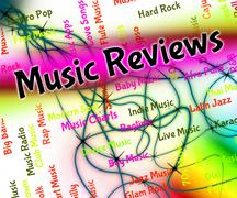 Music Reviews Shows Sound Track And Assess - stock illustration