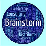Stock Illustration of Brainstorm Word Shows Put Heads Together And Analyze