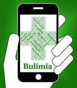 Bulimia Illness Represents Binge Vomit Syndrome And Ailment - stock illustration