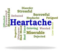 Heartache Word Represents Worry Agony And Wordclouds - stock illustration