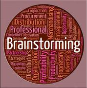 Stock Illustration of Brainstorming Word Means Put Heads Together And Brainstormed