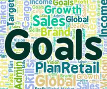 Goals Word Means Targeting Aims And Words - stock illustration