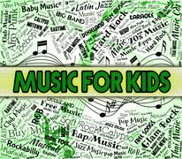Music For Kids Represents Sound Tracks And Acoustic Stock Illustration