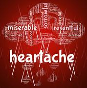 Stock Illustration of Heartache Word Represents Agony Grief And Distress
