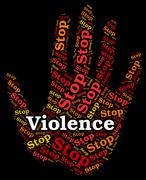Stop Violence Indicates Warning Sign And Brute - stock illustration
