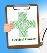 Stock Illustration of Cervical Cancer Shows Malignant Growth And Ailment