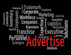 Stock Illustration of Advertise Word Means Text Promotion And Ads