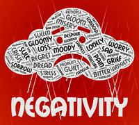 Negativity Word Represents Wordclouds Dissentt And Fatalistic - stock illustration