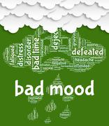 Bad Mood Represents Grief Stricken And Anger Stock Illustration