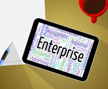 Enterprise Word Means Businesses Wordclouds And Establishment - stock illustration