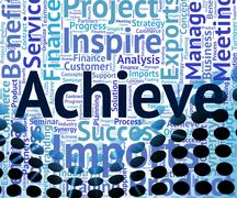 Stock Illustration of Achieve Word Means Winner Wordcloud And Achievement