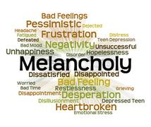 Melancholy Word Represents Low Spirits And Dejected Stock Illustration