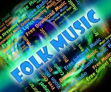 Folk Music Means Sound Tracks And Audio Stock Illustration