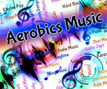Aerobics Music Indicates Sound Track And Audio - stock illustration