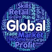 Global Words Shows Worldly Wordclouds And Globalization - stock illustration