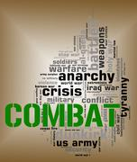 Combat Word Shows Military Action And Attack Stock Illustration