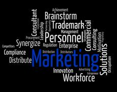 Stock Illustration of Marketing Word Means Sell Promotion And Wordclouds