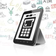 Money concept: Tablet Computer with ATM Machine on display - stock illustration