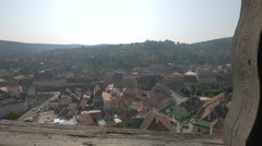 Amazing view of Sighisoara from the Clock Tower Stock Footage