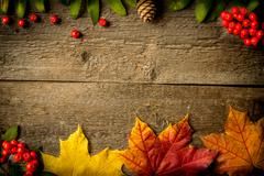 Rowan and maple leaves on a wooden table - stock photo