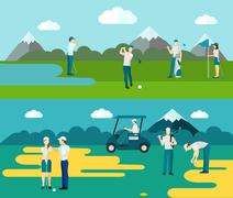 Golf course 2 flat banners composition Stock Illustration