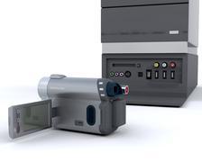 3D video camera equipment - stock photo