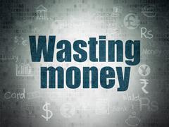 Money concept: Wasting Money on Digital Paper background Stock Illustration