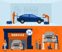 Auto mechanic 2 flat banners set - stock illustration