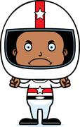 Cartoon Angry Race Car Driver Boy - stock illustration