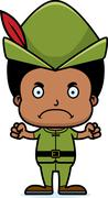 Cartoon Angry Robin Hood Boy - stock illustration
