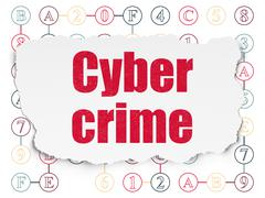Stock Illustration of Safety concept: Cyber Crime on Torn Paper background