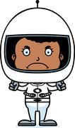 Cartoon Angry Astronaut Girl - stock illustration
