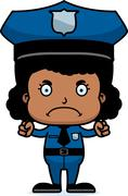 Cartoon Angry Police Officer Girl - stock illustration