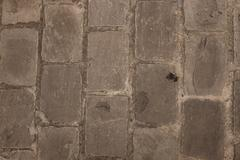 Brown  interlocking paving stone driveway from above - stock photo
