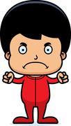 Cartoon Angry Boy In Pajamas - stock illustration