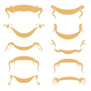 Set of peach Ribbons - stock illustration
