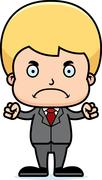 Cartoon Angry Businessperson Boy - stock illustration