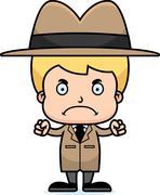 Cartoon Angry Detective Boy - stock illustration