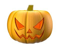 Halloween pumpkin with scary face on white - stock illustration