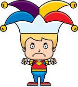 Cartoon Angry Jester Boy - stock illustration