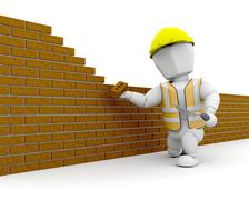 3D Construction worker Stock Photos