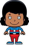 Cartoon Smiling Superhero Girl - stock illustration