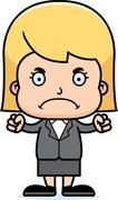 Cartoon Angry Businessperson Girl - stock illustration