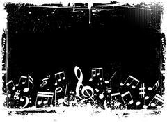 Grunge music notes - stock illustration