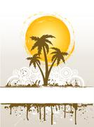 Grunge palm tree - stock illustration